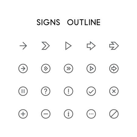 Signs outline icon set - different arrows, question and exclamation mark, checkmark, delete cross, plus, minus, information, menu and others simple vector symbols. Buttons and website signs. Ilustração