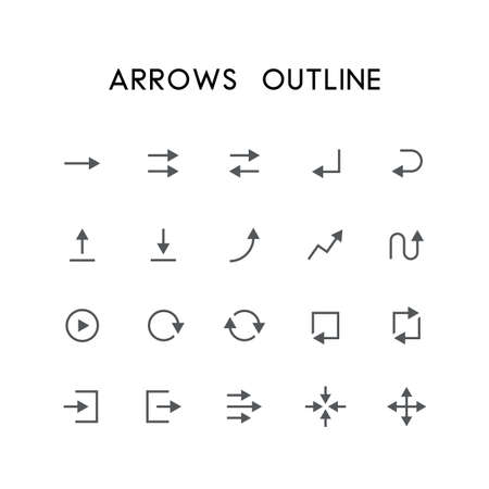 log out: Arrows outline icon set - different arrows, enter, back, upload, download, graph, refresh, log in, log out, zoom, move and others simple vector symbols. Website and design signs.