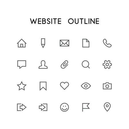 Ensemble d'icônes de site Web - maison, crayon, document, téléphone, chat, courrier, homme, recherche, engin, étoile, marque, coeur, oeil, photo et autres symboles vectoriels simples. Panneaux d'accès Internet et réseaux sociaux. Banque d'images - 69544379