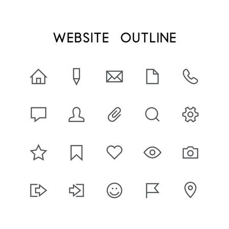 Website outline icon set - home, pencil, document, phone, chat, mail, man, search, gear, star, bookmark, heart, eye, photo and others simple vector symbols. Internet and social network signs.