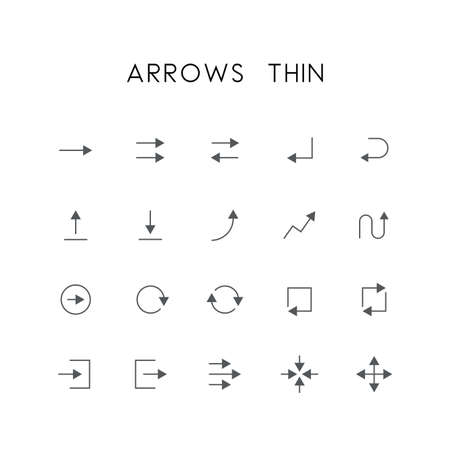 log out: Arrows thin icon set - different elements, enter, back, upload, download, graph, refresh, log in, log out, zoom, move and others simple vector symbols. Website and design signs.
