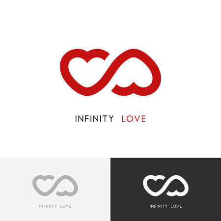 Infinity love logo - two red hearts and endless loop symbol. Valentine and relationship vector icon.