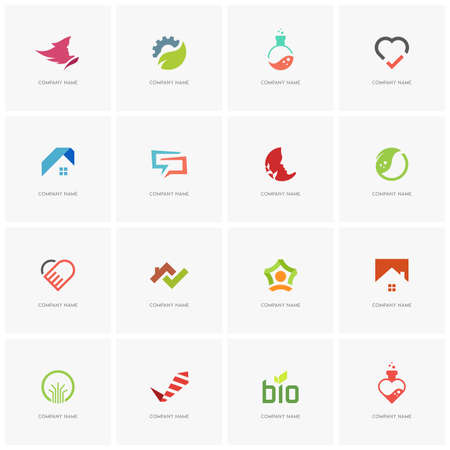 Total logo set 2 - real property, science, industry, love, business, beauty, nature and ecology flat icons. Illustration