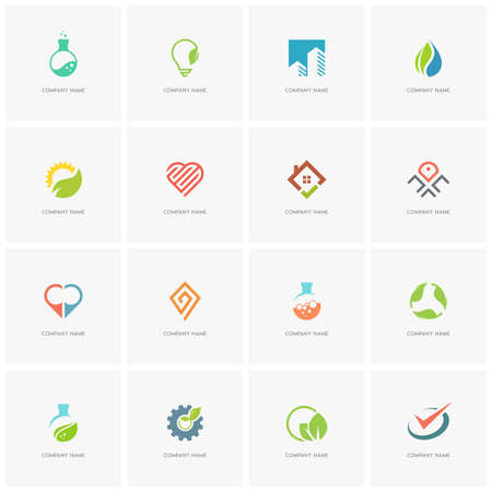 agro: Total logo set 3 - real property, science, industry, love, business, nature and ecology flat icons.