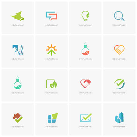 Total logo set 4 - real property, science, love, business, beauty, nature and ecology flat icons.