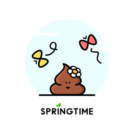 Funny happy poop or turd with flower and butterflies - cartoon vector illustration. Springtime, nature and positive emotions. Illustration