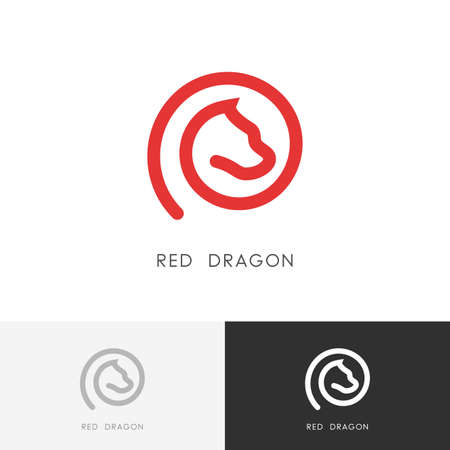 Red dragon logo element - outline fairy tale animal symbol. Dog or horse icon.