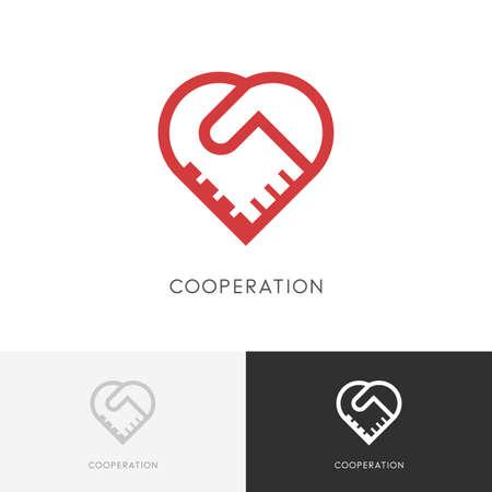 Aperçu de la coopération - deux mains font un accord et un symbole de coeur. Handshake, partenariat et icône d'amour. Banque d'images - 81517659