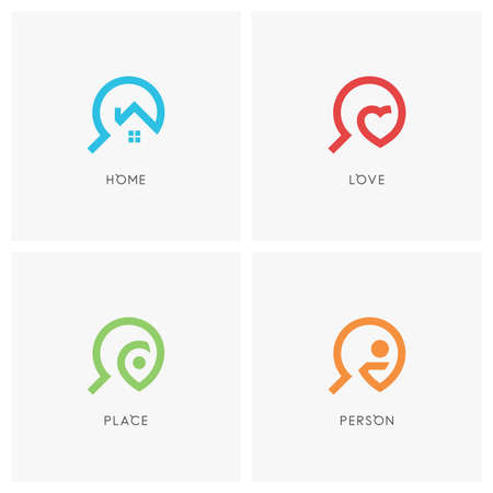 Zoek set. Huis of huis, hart, adreswijzer, persoon en vergrootglas - realty, liefde, reis- en werkbureau iconen.
