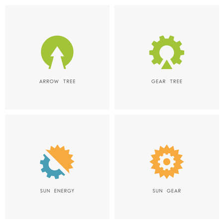 spring balance: Ecology set. Arrow and plant, gear wheel tree, sun or solar with pinion symbol - alternative power source, renewable energy, nature and industry icons. Illustration