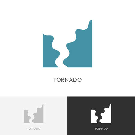 Tornado - storm, hurricane or twister symbol. Natural disaster and bad weather icon. Illustration
