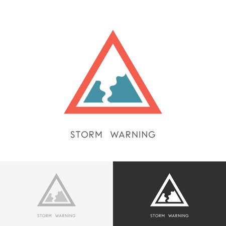Storm warning - hurricane, tornado or twister safety sign. Natural disaster and bad weather icon.