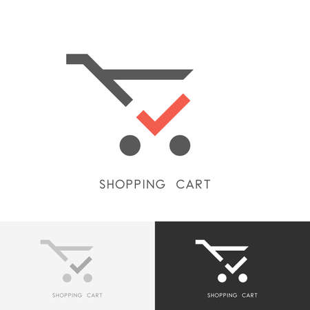 Shopping cart - trolley with red check mark or tick symbol. Store, shop, buying and purchase icon. Ilustração