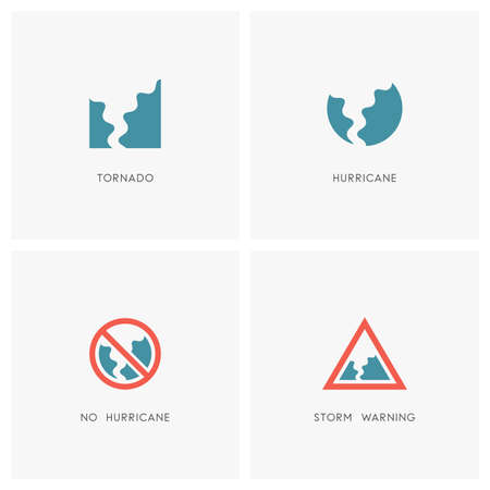 Hurricane set. Tornado, storm or twister and warning or stop signs.