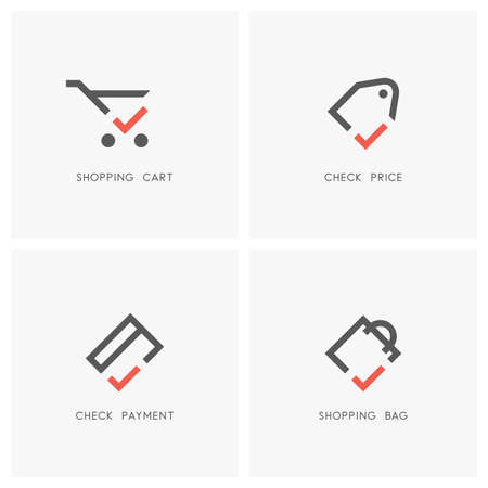 Check mark set. Shopping cart and bag, price tag or label and credit card with tick or checkmark symbol.