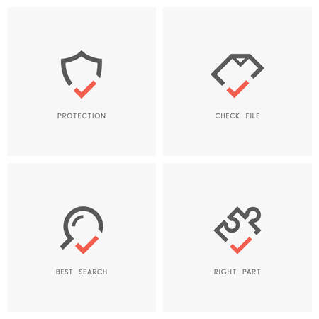 Protection and defense, agreement, search and jigsaw part icons