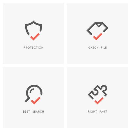 Protection et défense, accord, recherche et icônes de pièces de puzzle