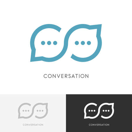 Infinity conversation - endless chat or good talk symbol. Constructive dialogue, discussion and business communication icon. Çizim