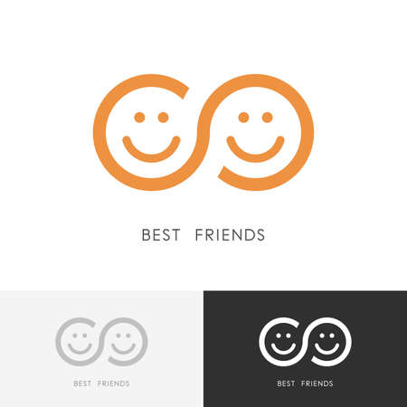Two smiling faces and infinity symbol icon Ilustração