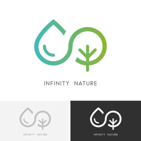 Infinity nature - a drop of water and tree or plant symbol. Ecology, environment and agriculture icon.