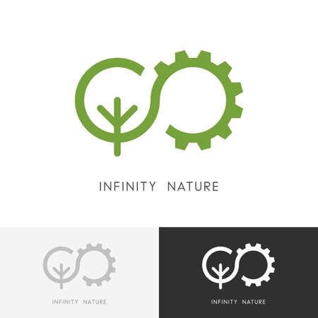 Infinity nature - gear wheel and green tree or plant symbol. Ecology, environment and industry icon.