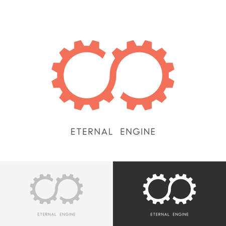 Eternal engine - gear wheel or pinion and infinity symbol. Perpetuum mobile, industry and mechanical engineering icon.