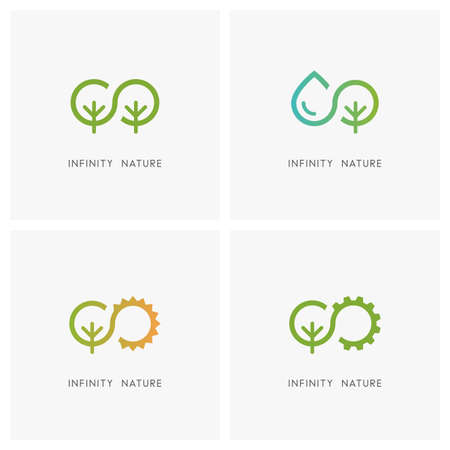 Infinity and nature set. Green tree, drop of water, the sun and gear wheel - ecology and environment, agriculture and industry icons. Ilustração