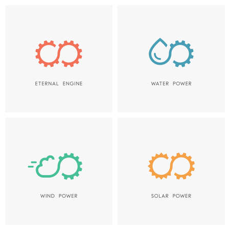 Alternative energy source set. Gear wheel or pinion, water, cloud, the sun and infinity symbol - eternal engine and perpetuum mobile, solar, wind and hydro power, industry and ecology icons.