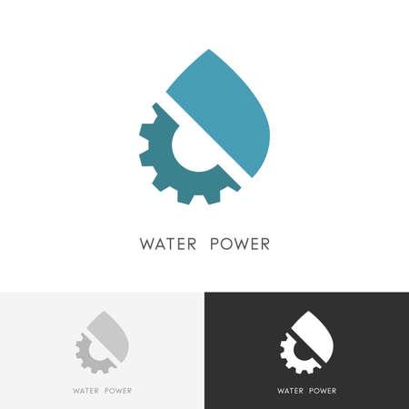 Wasserkraft - Wassertropfen und Zahnrad- oder Ritzelsymbol. . Standard-Bild - 91667533