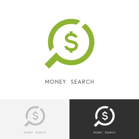 Money search - currency and dollar sign, loupe or magnifier symbol. Finance, investment and loan icon.