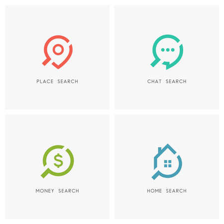 Search set. Address pointer, chat, dollar sign, home or house and loupe or magnifier, symbol - place, location and destination, communication, conversation and discussion, finance and realty icons. Vectores