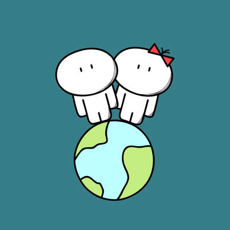 Cute man and woman are together on the planet Earth in space. Love couple, relationships, friendship and family cartoon vector illustration.