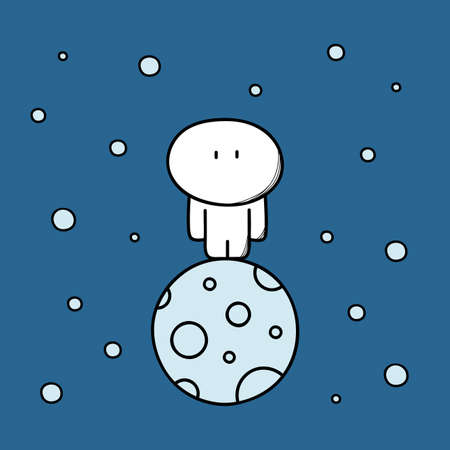 Cute man on the lonely planet in space among the asteroids and stars. Alone person in the whole universe, loneliness and solitude cartoon vector illustration.