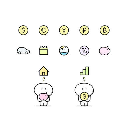 Funny cute man with piggy bank, dollar, euro, yen, ruble, bitcoin, house, graph, car and others symbols. Money and currency, loan and credit, finance and investment cartoon vector illustration.