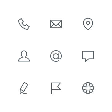 Basic outline icon set - phone, envelope, address pointer, man, email, chat, pen, flag and globe symbols. Contacts and business vector signs.