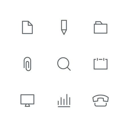 Basic outline icon set - file, pencil, folder, paper clip, magnifier, calendar, computer, graph and telephone symbols. Office supplies and business vector signs. Иллюстрация