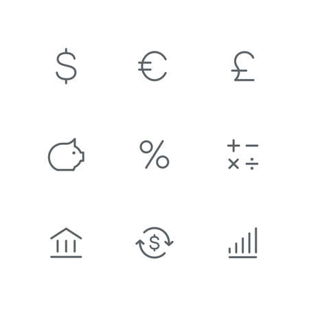 Basic outline icon set - dollar, euro, pound, coin box, percent, calculator, bank, exchange rate and chart symbols. Finance, money and currency, business, success and profit vector signs. Иллюстрация