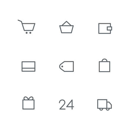 Basic outline icon set - shopping cart, basket, wallet, credit card, price tag, bag, gift, open hours and car symbols. Online store, around the clock shop, delivery, payment and purchase vector signs.