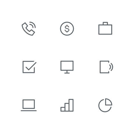 Basic outline icon set - telephone, dollar coin, briefcase, check mark, computer screen, mobile phone, laptop, graph and diagram symbols. Business, office and success work vector signs. Иллюстрация