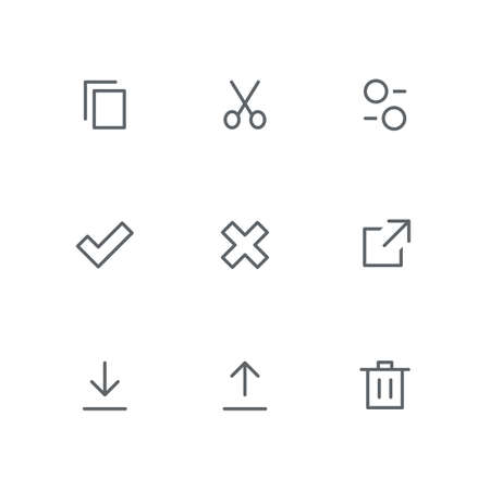 Basic outline icon set - files, scissors, settings, check mark, cross, link, download, upload arrow and basket symbols. Internet and computer system vector signs.