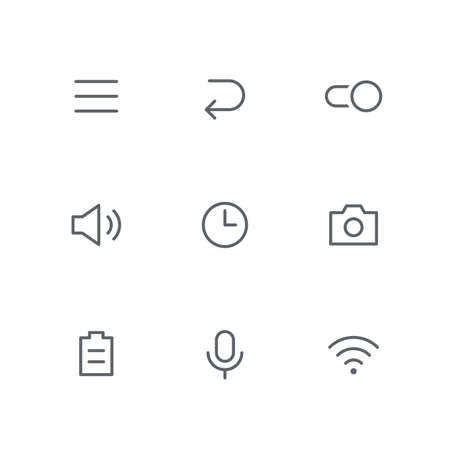 Basic outline icon set - menu, arrow, switch, loudspeaker, clock, photo camera, battery, microphone and wi fi symbols. System and technology vector signs. Иллюстрация
