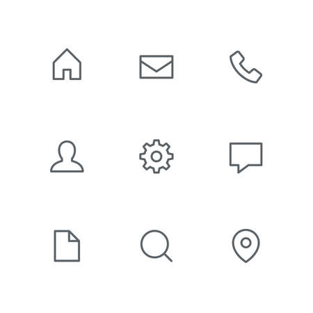 Basic outline icon set - home, mail, telephone, person, gear wheel, chat, file, search and address pointer symbols. Internet, website and contacts. Иллюстрация