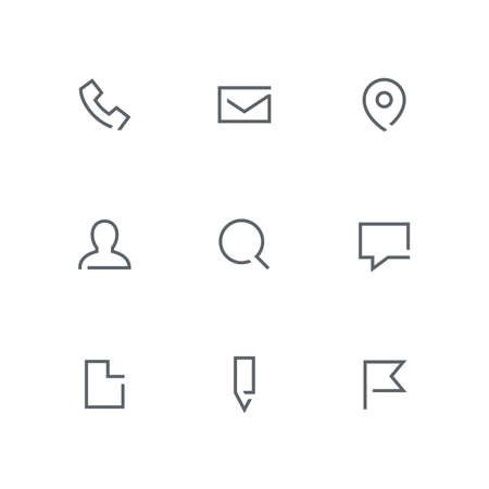 Open outline icon set - phone, envelope, address pointer, person, magnifier, chat, file, pencil and flag symbol. Contacts and business vector signs. Иллюстрация