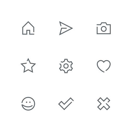 Open outline icon set - home, paper airplane, photo camera, star, gear wheel, heart, smile face, check mark and cross symbol. Internet, website and social network vector signs.
