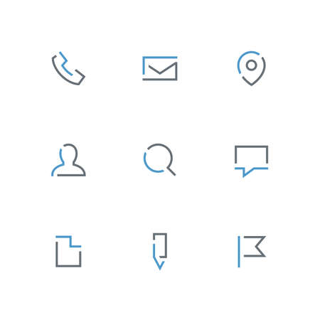 Colored outline icon set - phone, envelope, address pointer, person, magnifier, chat, file, pencil and flag symbol. Contacts and business vector signs.