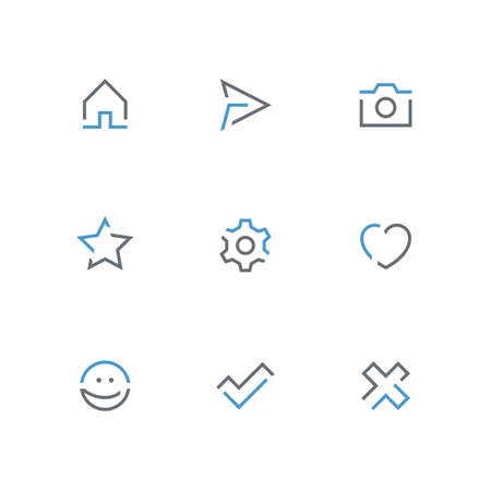 Colored outline icon set - home, paper airplane, photo camera, star, gear wheel, heart, smile face, check mark and cross symbol. Internet, website and social network vector signs. 일러스트