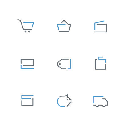 Colored outline icon set - shopping cart, basket, wallet, credit card, price tag, bag, gift, coin box and car symbol. Online store, delivery, payment and purchase vector signs. Иллюстрация