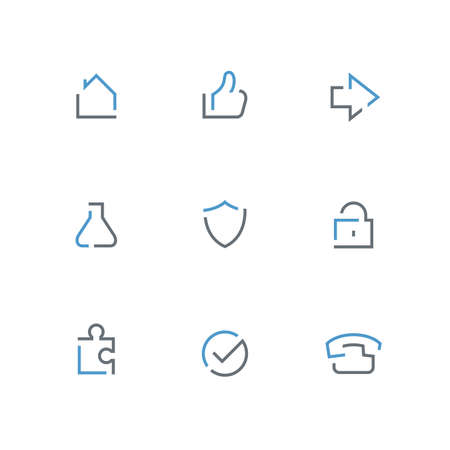 Colored outline icon set - home, hand, arrow, test tube, shield, lock, piece of the puzzle, check mark and telephone symbol. Business, internet and security vector signs.