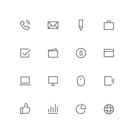 Main outline icon set - phone, mail, pen, briefcase, check mark, wallet, dollar coin, calendar, laptop, computer, mouse, mobile, globe, graph and diagram symbol. Business and work vector signs. Иллюстрация