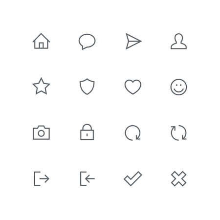 Main outline icon set - home, chat, airplane, man, star, shield, heart, smile face, photo camera, lock, check mark, cross, login, logout and refresh symbol. Internet and social network vector signs.